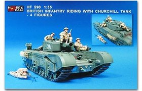 Bristish Infantry Riding with Churchill Tank - 4 Figs.
